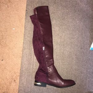 Maroon velvet riding boots